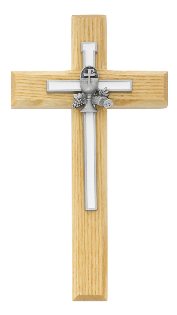 Cross - 8in Oak Cross and White Chalice Cross Box