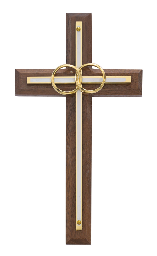 Cross - 6 1/2in. Walnut with Overlay Wedding Cross Boxed