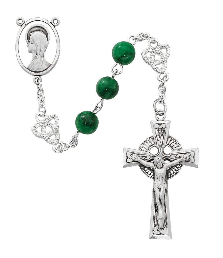 Rosary - Irish Jade Glass Rosary Boxed