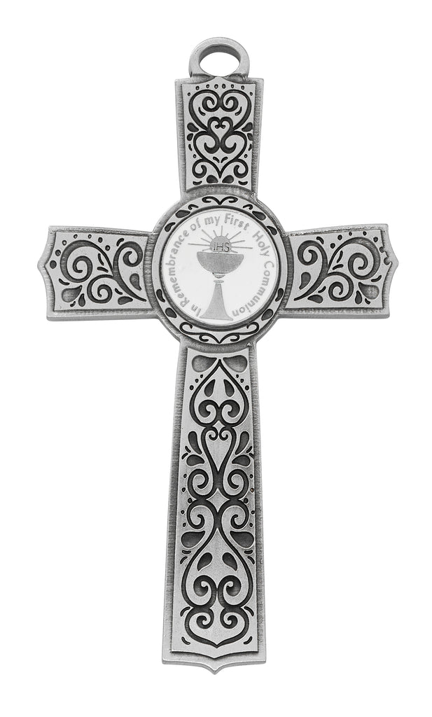 Cross - 6in Pewter Communion Cross with White Epoxy, Box