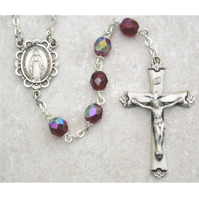 Birthstone Rosary - Dark Red Glass January Rosary Boxed
