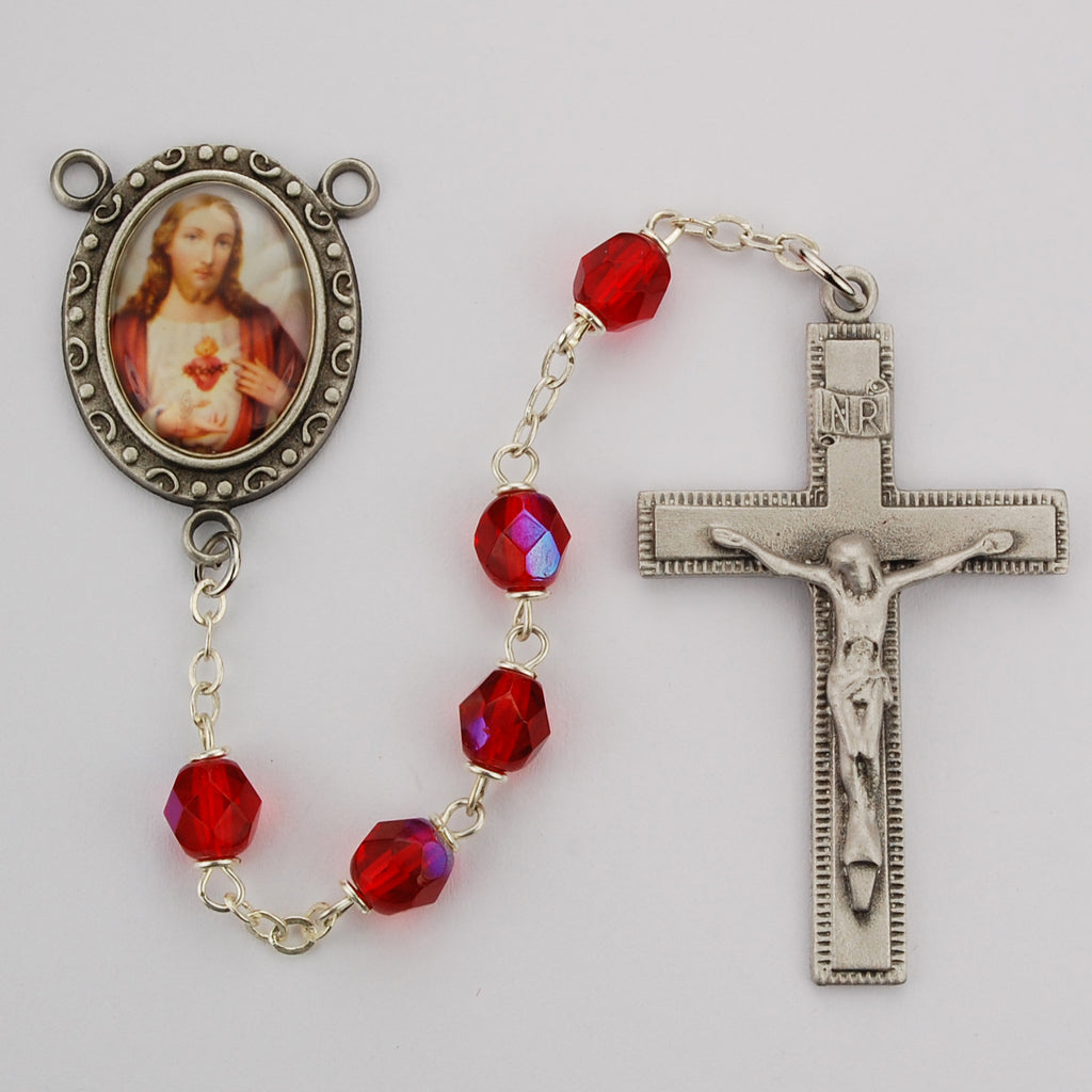 Sacred Heart Rosary - Red Aurora Boxed