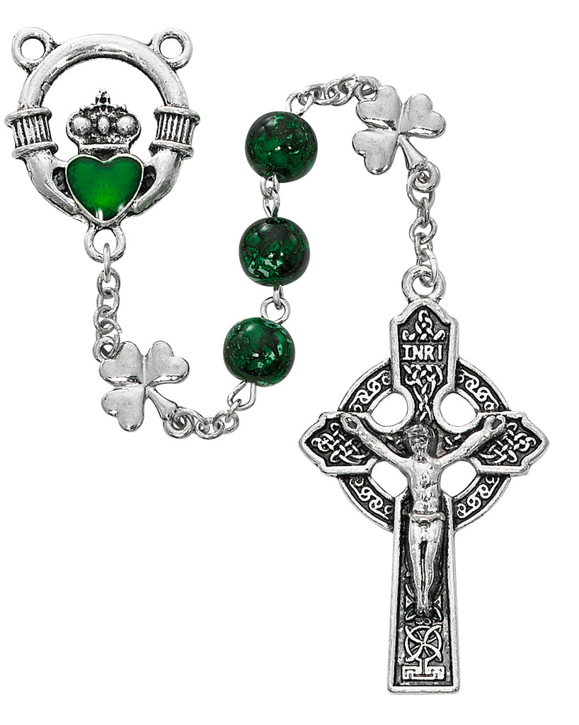 Claddagh Rosary - Green Shamrock Claddagh Rosary Boxed