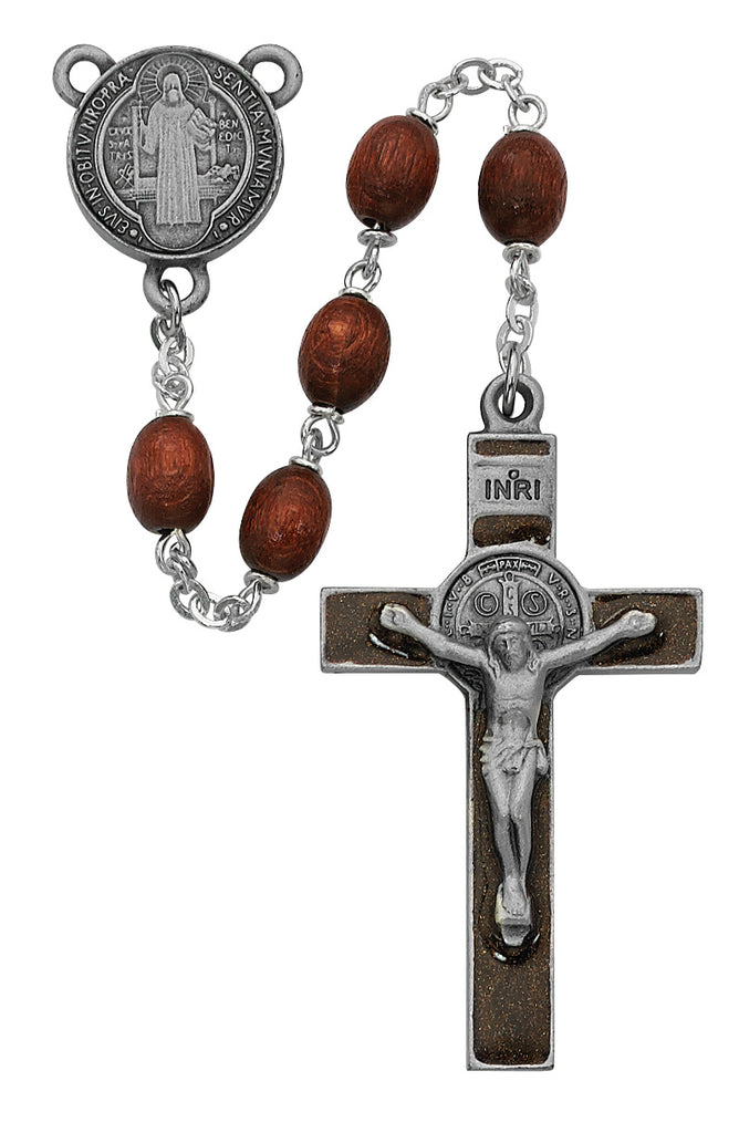 Benedict Rosary - Brown Wood St Benedict Rosary Boxed