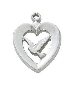 Heart with Dove Necklace - Sterling Silver
