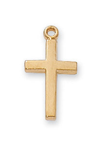Cross Necklace - Gold on Sterling Baby Cross Boxed
