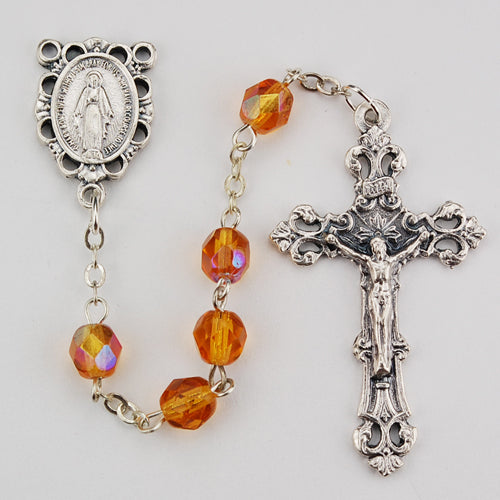 Birthstone Rosary - Amber Glass November Rosary Boxed
