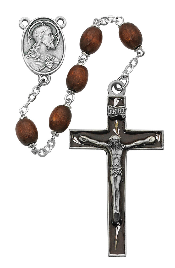 Rosary - Brown Oval Wood Rosary Boxed
