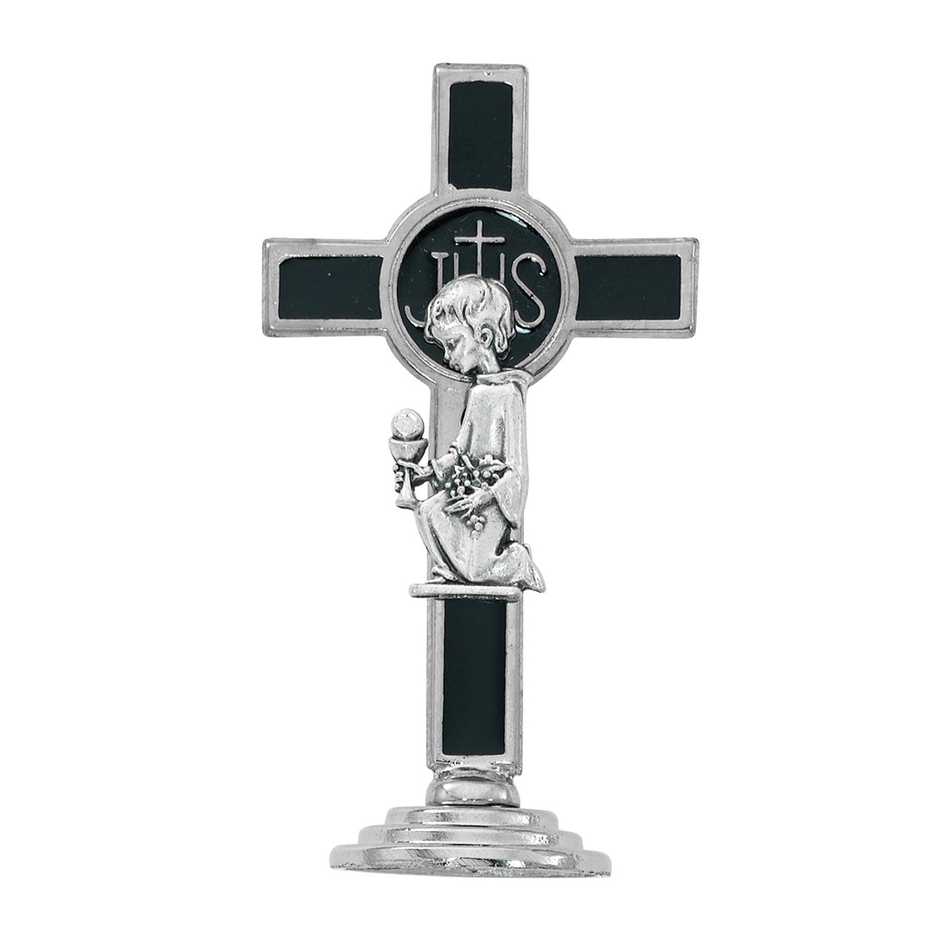 Cross 3.5in White Communion Boy Standing Cross Box
