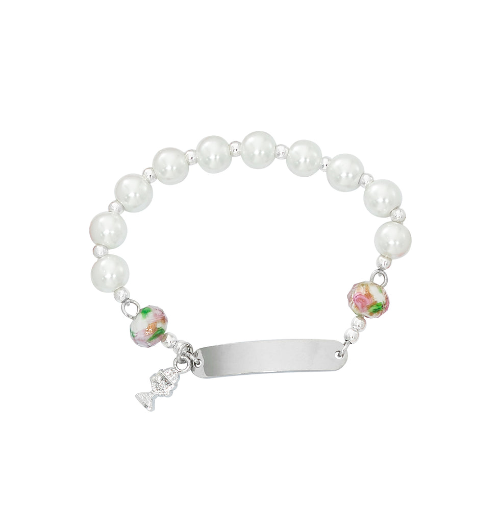 Bracelet - Youth Pearl Glass Engravable Communion Bracelet Box