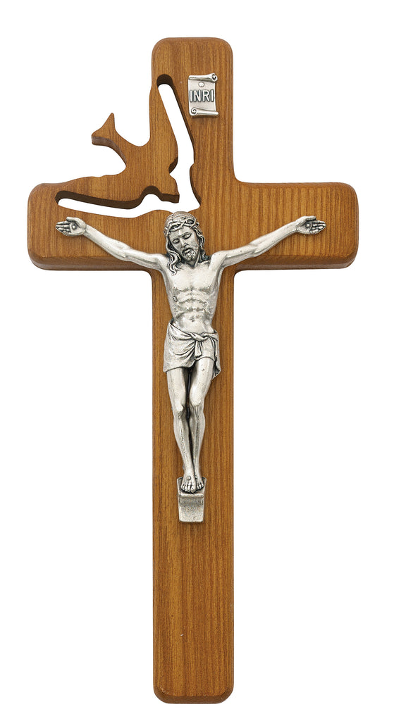 Holy Spirit Crucifix - 8in Walnut Stain Boxed