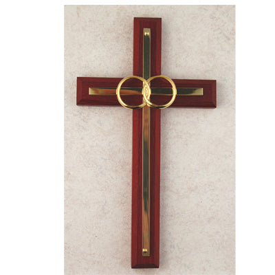 Cross - 6 1/2in. Cherry and Brass Wedding Cross Boxed