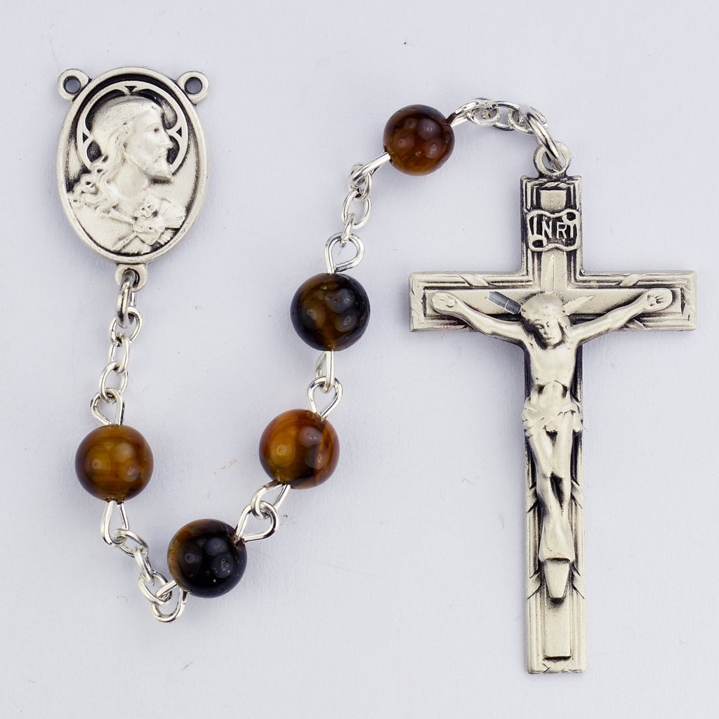Rosary - Tiger Eye with Sterling Rosary Boxed