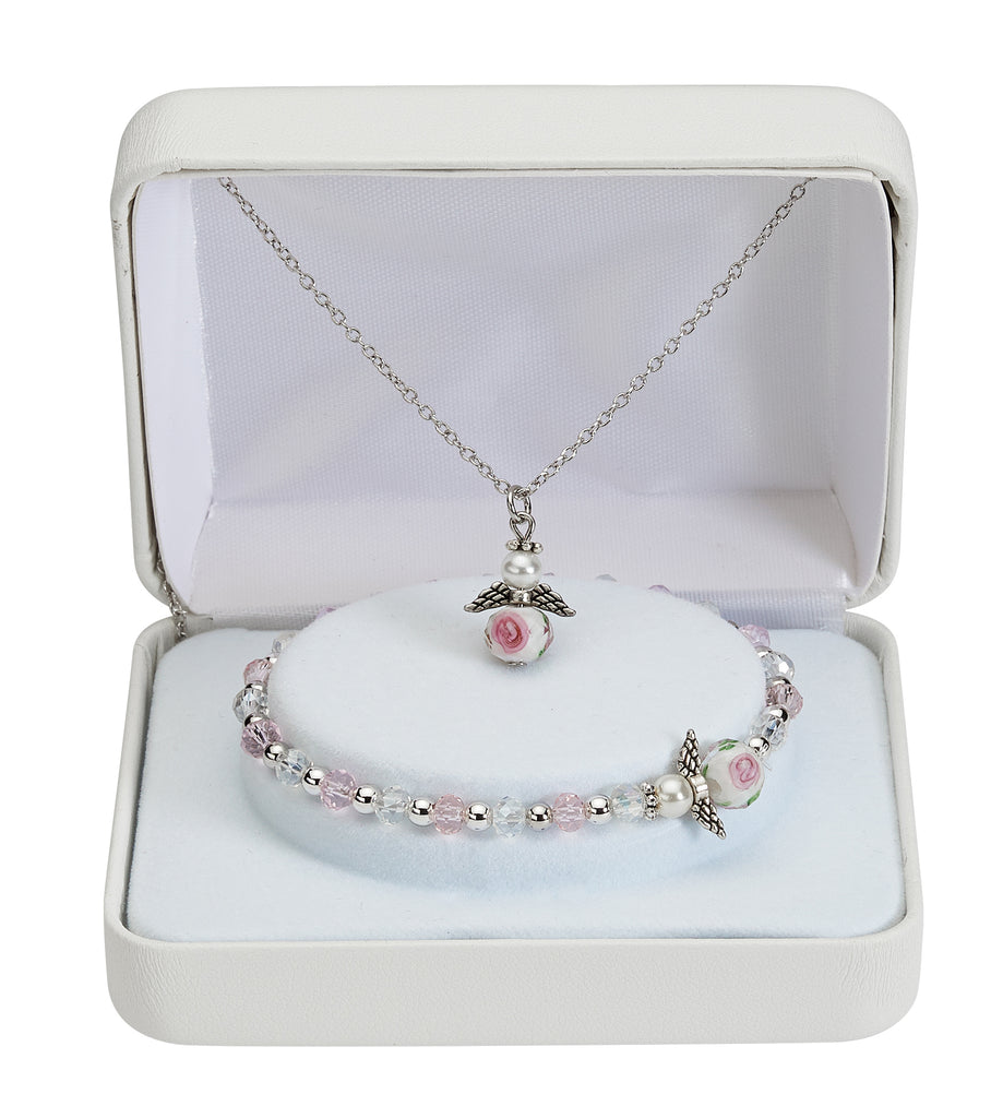 Bracelet and Necklace - Pink and Crystal Stretch Bracelet and Pendant Set