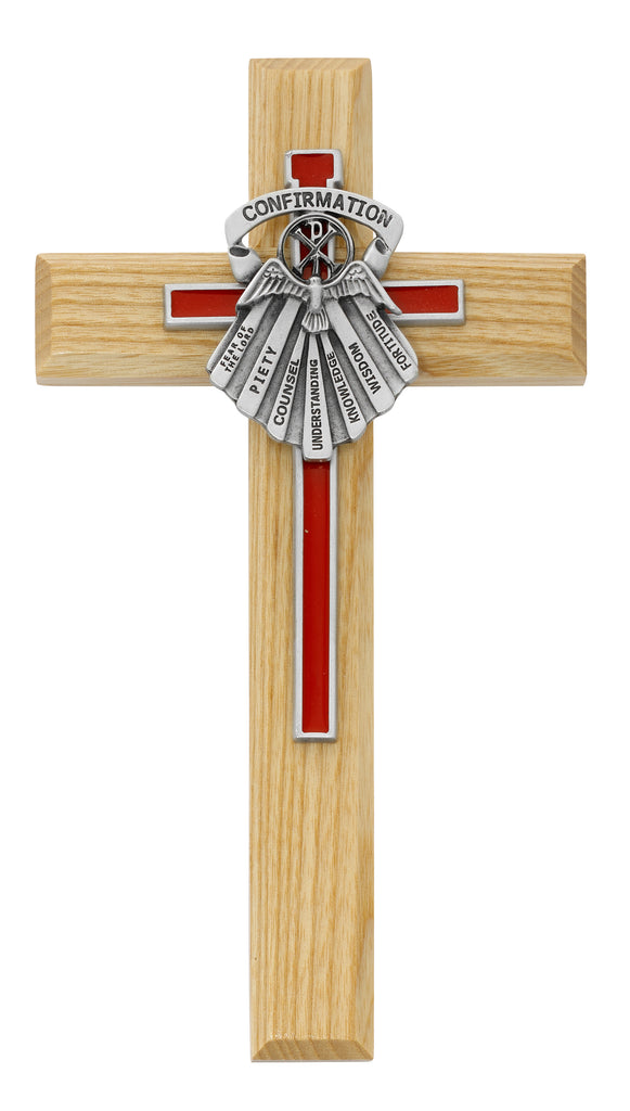 Cross - 8in Oak Cross with Red Epoxy and Gifts of Spirit, Box