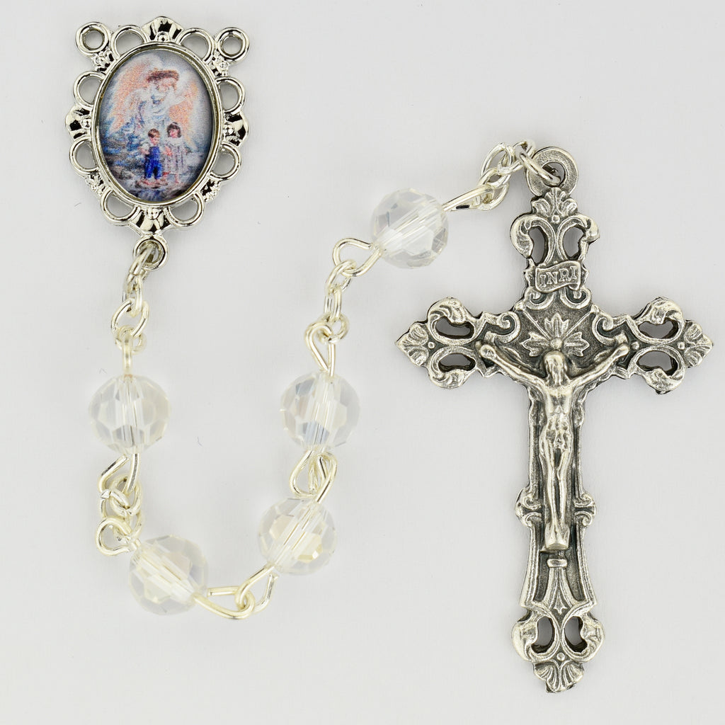 Rosary - Rhodium Plated Guardian Angel Rosary Boxed