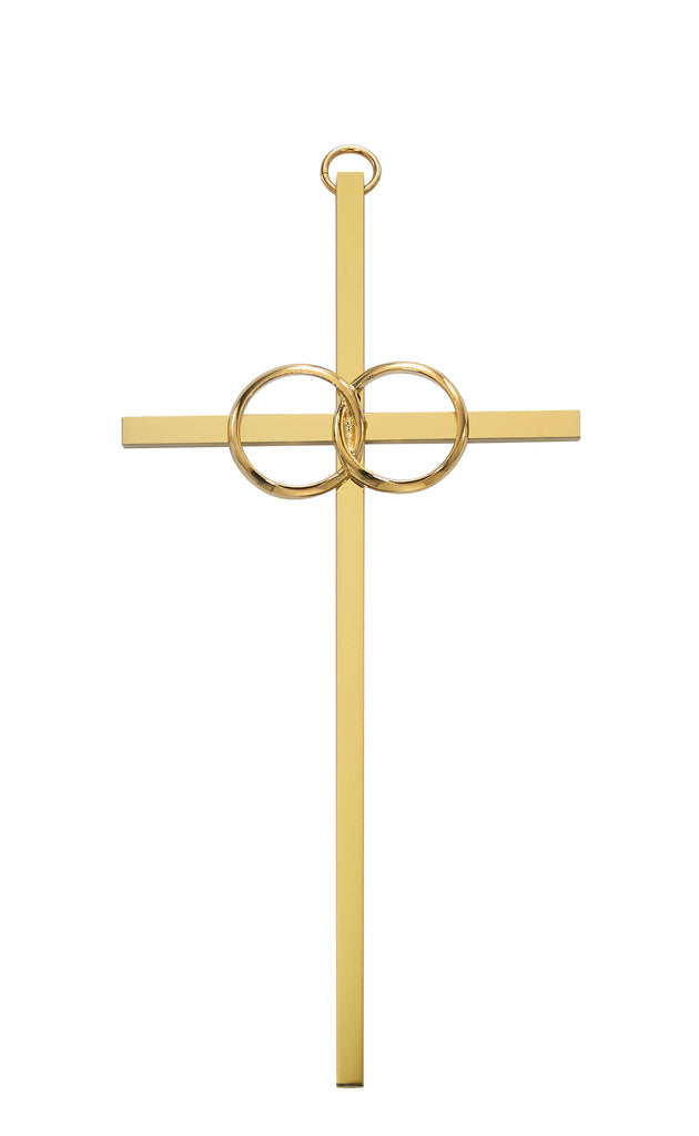 Cross - 8in. Polished Brass Wedding Cross Boxed