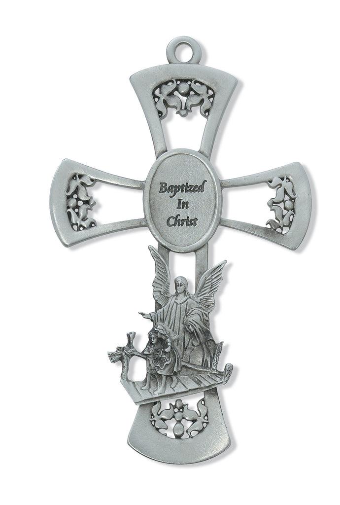Cross - 6in Pewter Guardian Angel Cross
