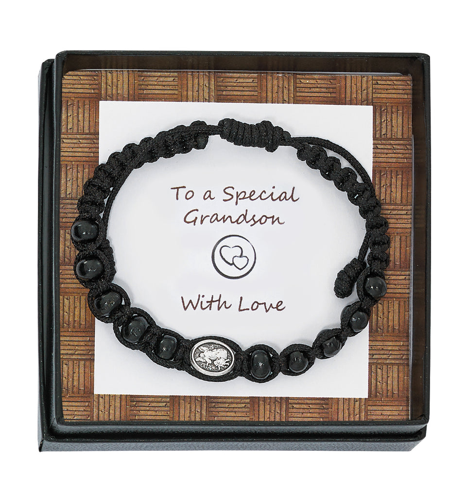 Bracelet - Black Wood St Michael Bracelet Grandson Box