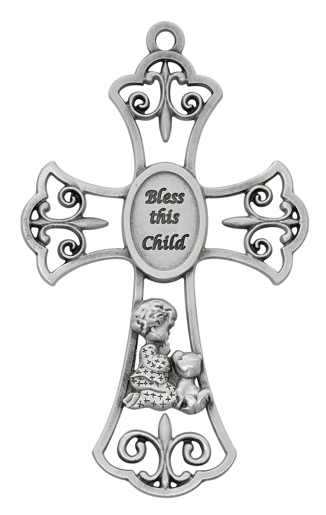 Cross - Baby Pewter Boy with Puppy Cross Boxed
