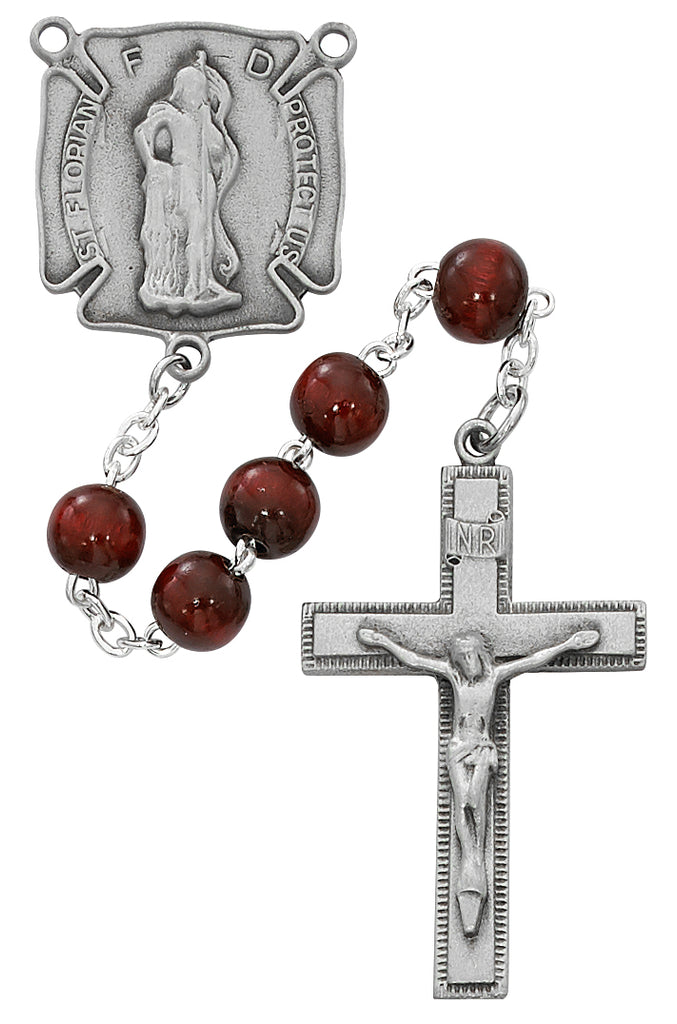 Florian Rosary - Red Wood with Florian Badge Rosary Boxed