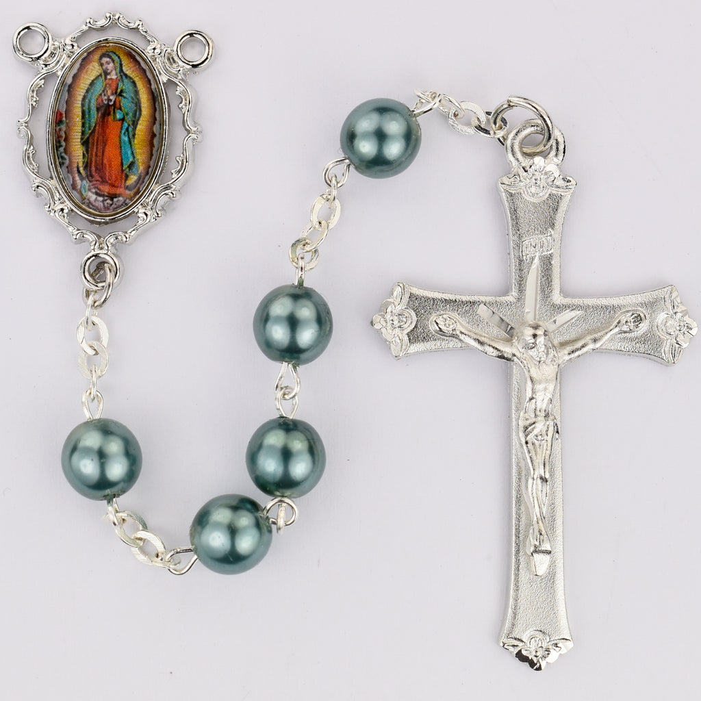 Our Lady of Guadalupe Decal Rosary  Rosary - Teal Boxed
