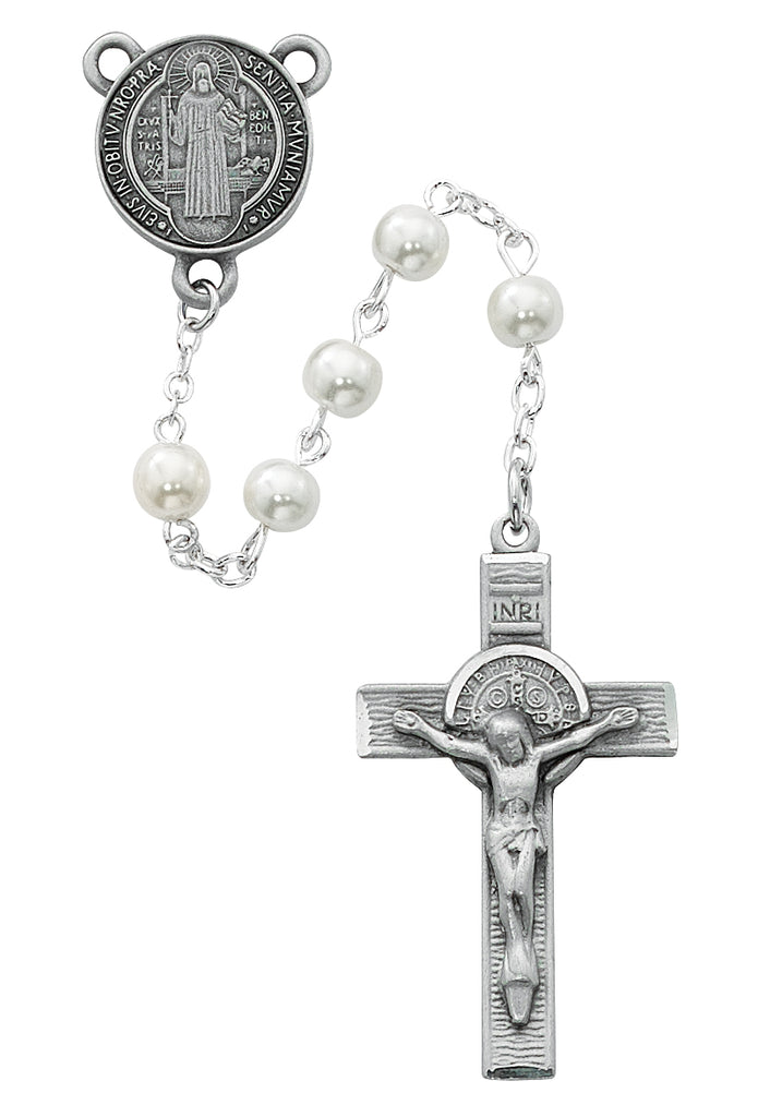 Benedict Rosary - Pearl like  Glass St Benedict Rosary Boxed