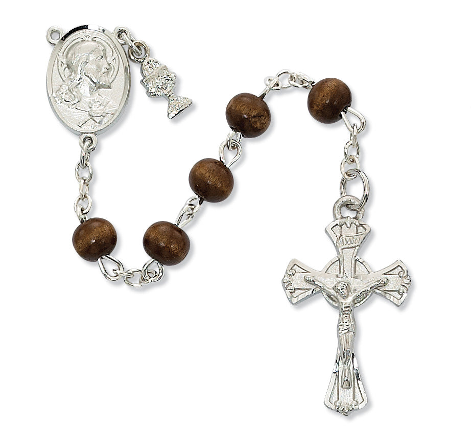 Rosary - Brown Wood Communion Rosary Box