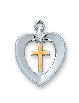 Heart and Cross Necklace - Sterling Silver