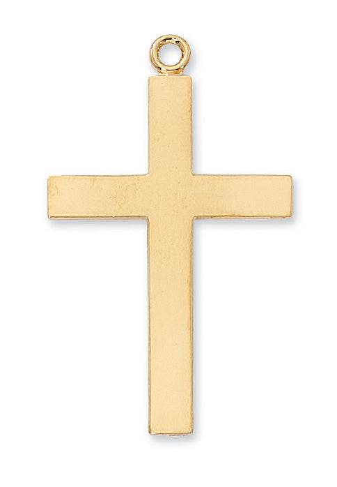 Our Lady of Lourdes Prayer Cross Necklace - Gold over Sterling