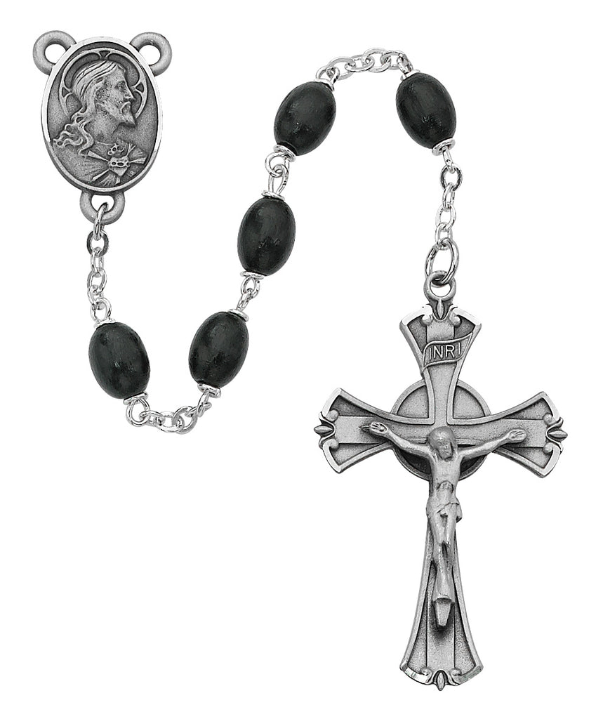 Rosary - Black Wood Rosary Boxed