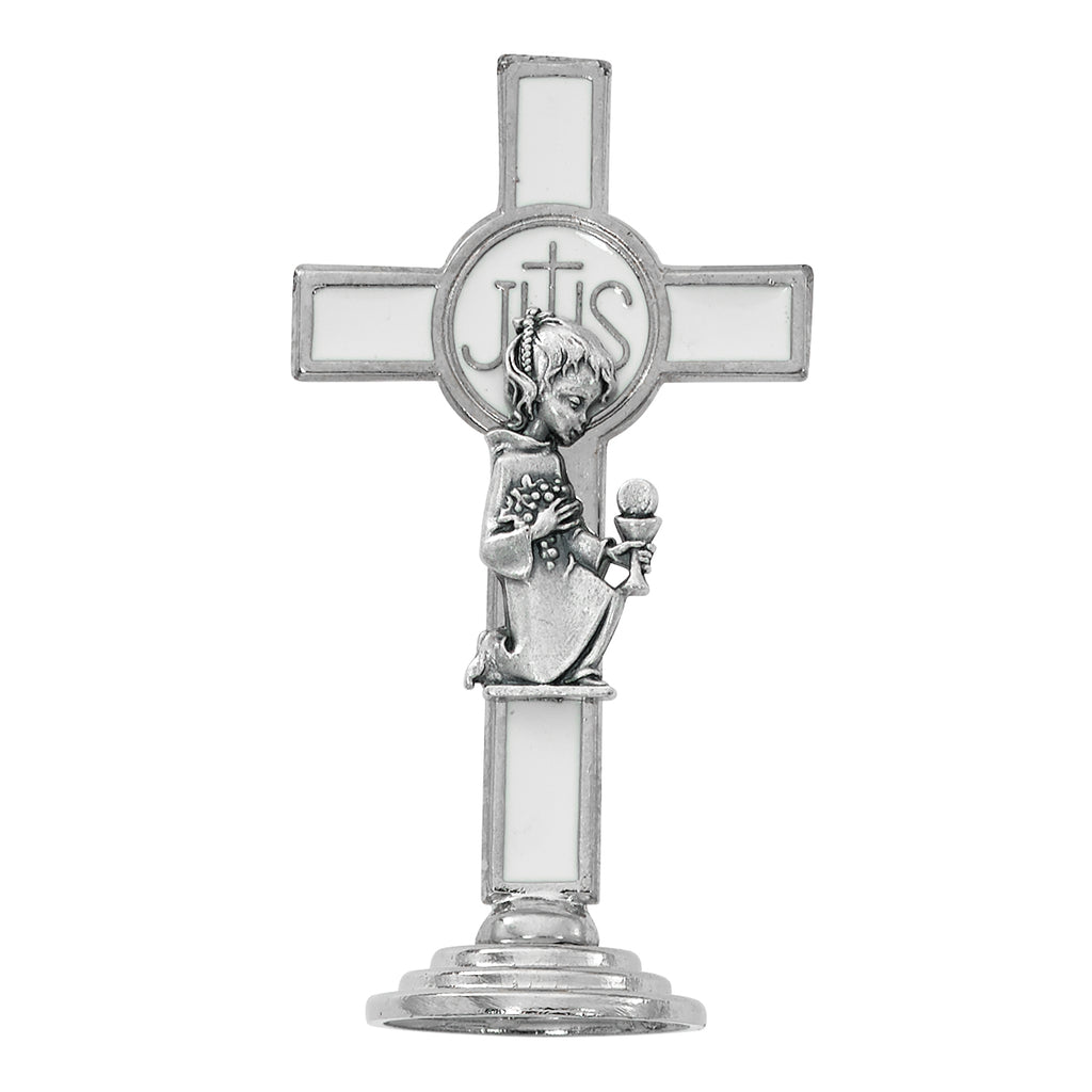Cross 3.5in White Communion Girl Standing Cross Box