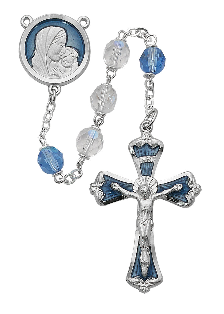 Mother and Child Rosary - Blue and Crystal Rosary Boxed