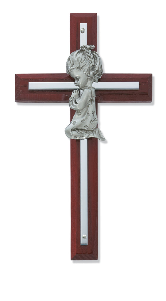 Cross - 6in Cherry Stained Girl's Cross