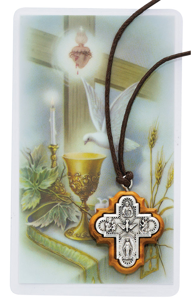 Necklace - Olive Wood 4-way Pendant with Holy Card