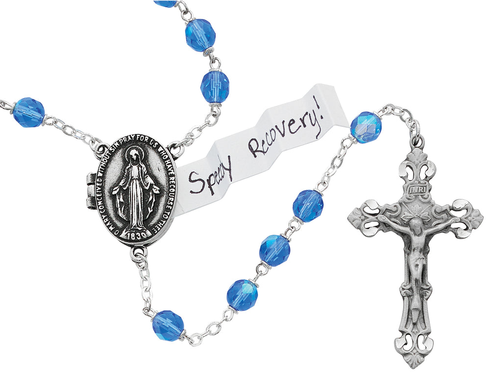 Prayer Petition Locket Rosary - Blue Boxed