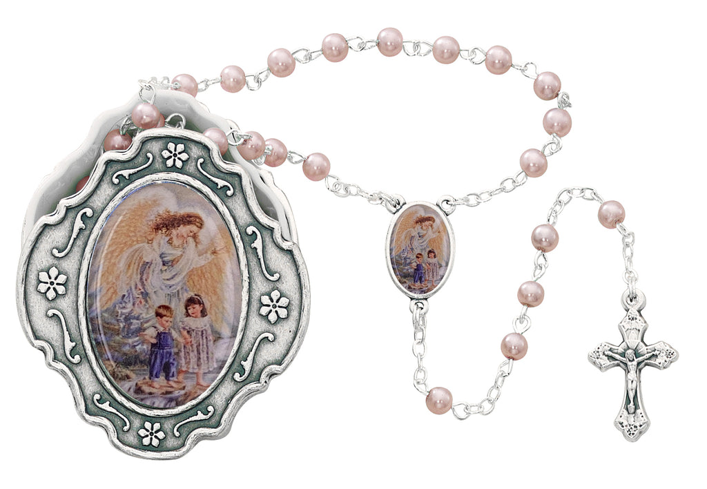 Rosary - Guardian Angel Box and Pink Rosary
