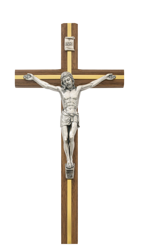Crucifix - 10 in. Walnut Stain Crucifix Boxed