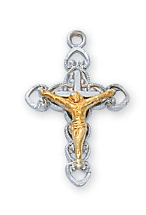 Two-Tone Crucifix Necklace - Sterling Silver