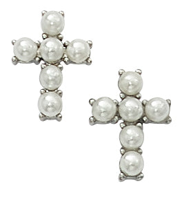 Earrings - Imitation Pearl Cross Earrings Box