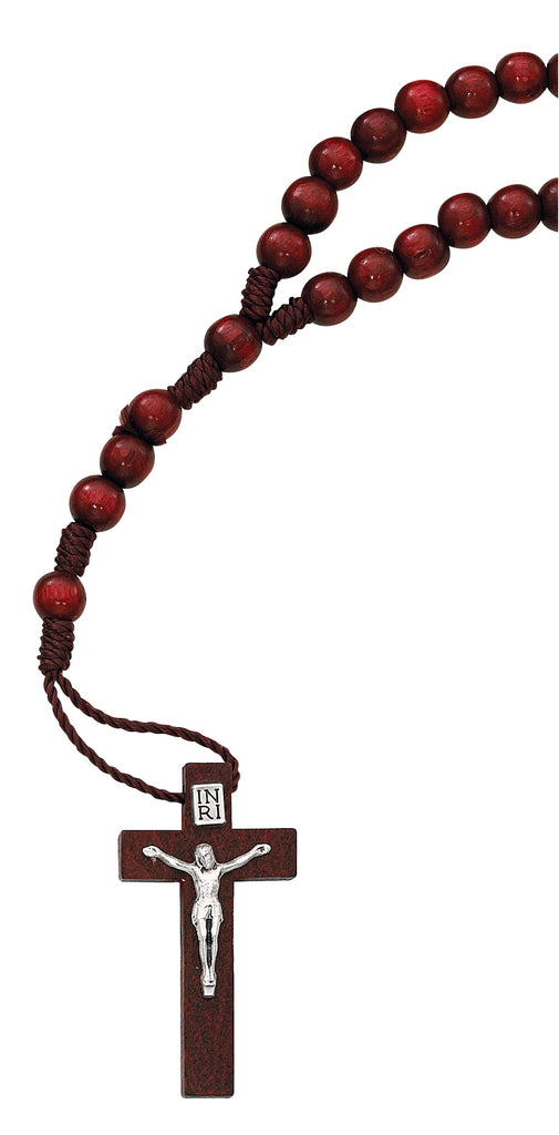 Rosary - Red Wood Corded Rosary Box
