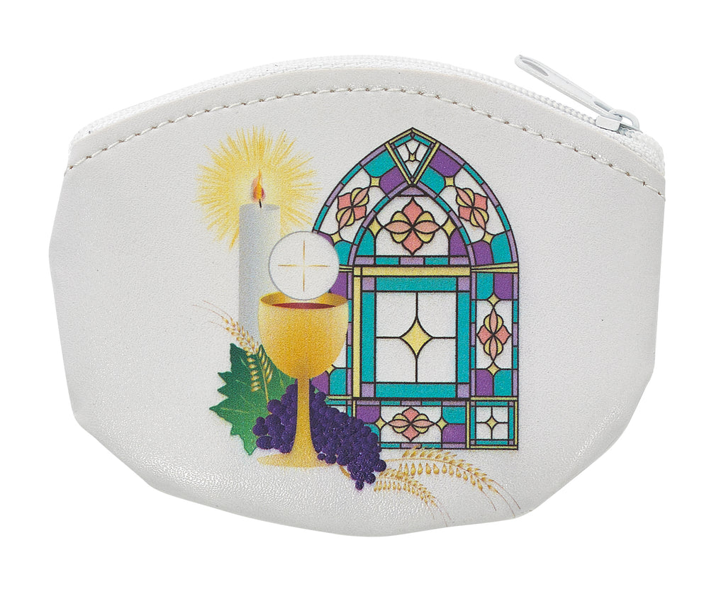 Rosary Bag - 3.5in by 3in White Communion Rosary Pouch