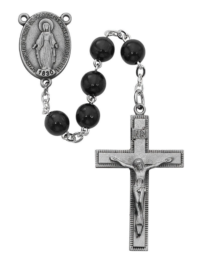 Rosary - Black Round Wood Rosary Boxed