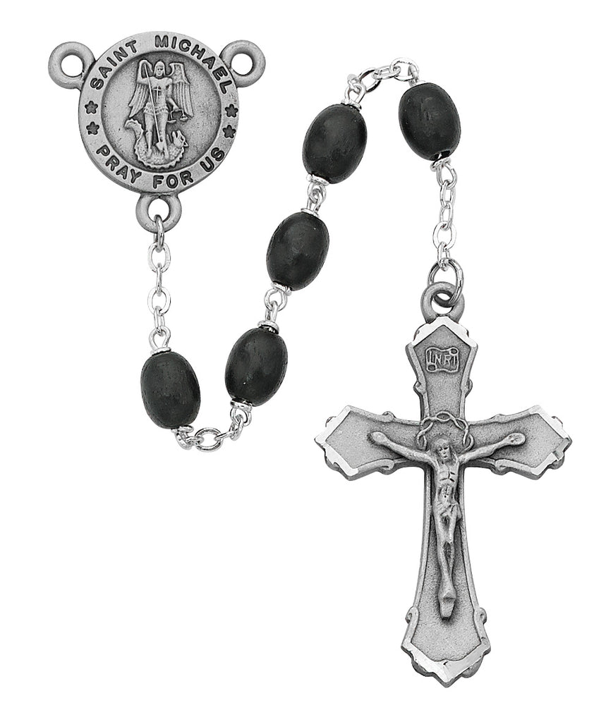 Michael Rosary - Black Wood St Michael Rosary Boxed