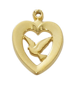 Heart with Dove Necklace - Gold over Sterling