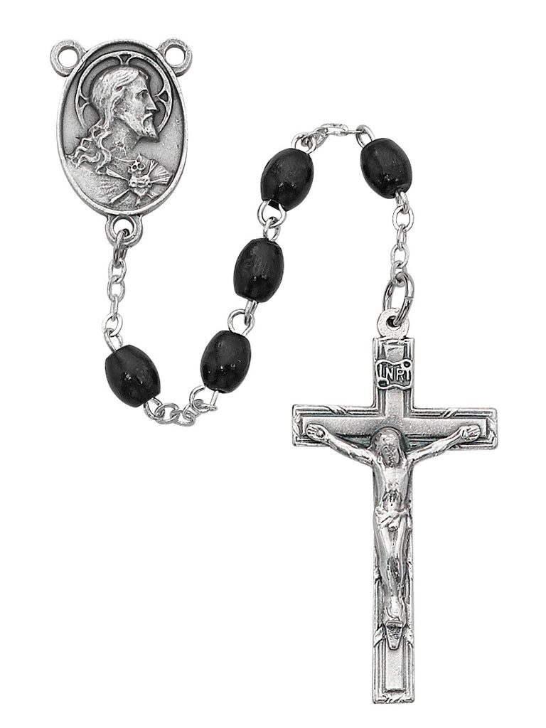 Rosary - Black Oval Wood Rosary Boxed