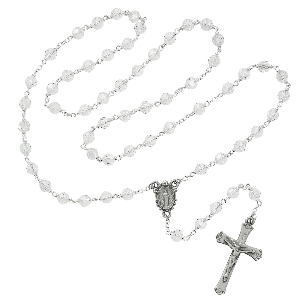 Rosary - Crystal Tin Cut Rosary Boxed
