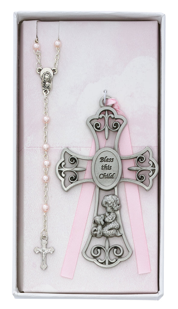 Baby Set - Baby Girl and Puppy Crib Cross and Rosary Boxed