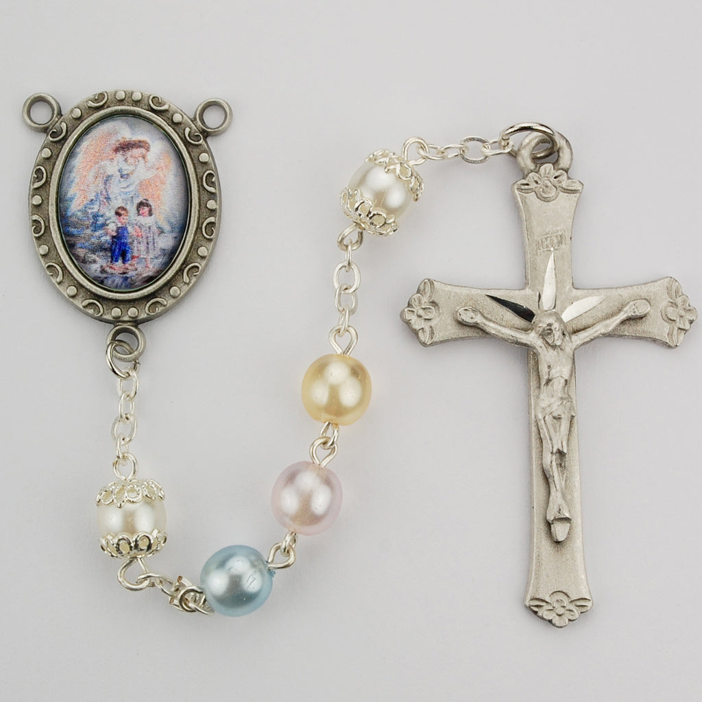 Guardian Angel Rosary - Multi Pearl like Boxed