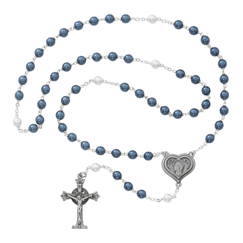 Rosary - Blue and Pearl like  Glass Lourdes Water Rosary Boxed